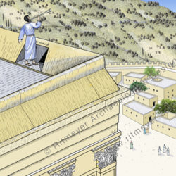 In this reconstruction drawing the priest stands blowing the trumpet in the designated place. From this high position he could be heard all over the city.