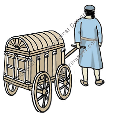 This drawing shows how the Torah scrolls may have been transported to the synagogue in Capernaum. © Leen Ritmeyer.