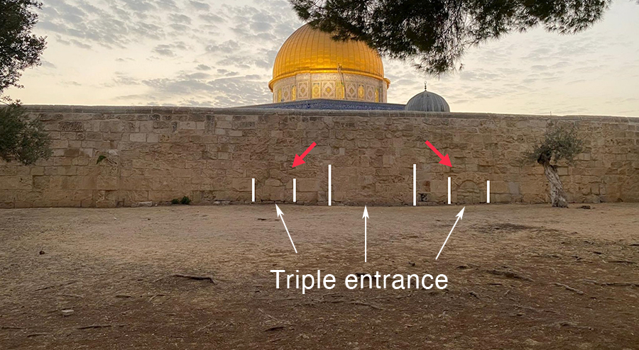 New discovery on the Temple Mount in Jerusalem:  Gate in the eastern wall of the Dome of the Rock plaza